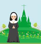 Freira rezando em frente à igreja — Vetor de Stock