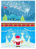 Set of Christmas and New Year's banners, funny santa claus — Stock Vector