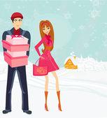 Casal em compras de natal — Vetor de Stock