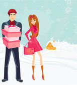Couple on Christmas shopping — Stock Vector