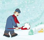 Man shoveling snow from street in winter — Stock Vector