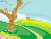 Illustration of a peaceful village in spring — Stockvektor