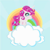 Card with a cute unicorn rainbow in the clouds. — Stock Vector