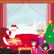 Grandmother with granddaughters waiting for Santa Claus — Stockvector #35593113