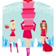 Christmas shopping girls — Stockvectorbeeld