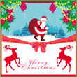 Vector christmas holiday background with santa claus and reindee — Stock Vector