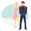 Couple on Christmas shopping — Stock Vector