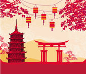 Chinese New Year card - Traditional lanterns and Asian buildings — Stok Vektör