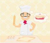Chef preparing a cake — Stock Vector
