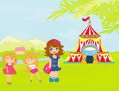 Crianças esperando a abertura do circo — Vetor de Stock