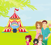 Familia va al circo — Vector de stock