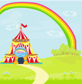 Travelling circus under the rainbow — Stock Vector