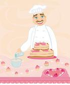 Chef preparing a cake — Stock Vector