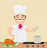 Smiling chef cooks soup — Stock Vector