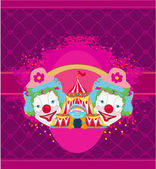 Circus and clowns abstract funny card — Vetorial Stock