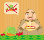 Funny man eating hamburger — Stock Vector