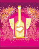 Abstract illustration of wine bottle and wine glass — Stock Vector
