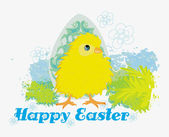 Cute Easter chick cartoon character,Happy Easter Card. — Stock Vector