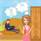 The girl did not have nothing to wear — Stock Vector