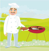Smiling chef grills meat — Vetorial Stock