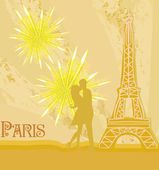 Romantic couple in Paris kissing near the Eiffel Tower — Stock Vector