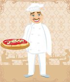Funny chef serves pizza in a restaurant — Stock Vector
