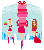 Christmas shopping girls — Stock Vector