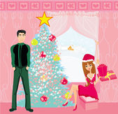 Girl surprising a boy with a gift in Christmas night — Stock Vector