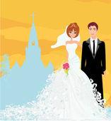 Brautpaar vor einer Kirche — Stockvektor