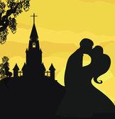 Sonnenschein Kirche und Brautpaar — Stockvektor