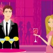 Stock Vector: Young couple flirt and drink champagne in club