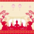Silhouette of a Buddha,Asian landscape and praying monks — Stock Vector