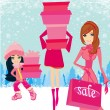 Fashion shopping girls with gift boxes — Stock Vector