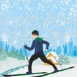 Boy rides on skis in winter day — Stock Vector