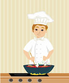 Cheerful chef cooks in the kitchen — Stock Vector
