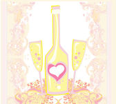 Abstract illustration of wine bottle and wine glass — Stockvektor