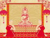 Keşişler Buddha heykeli için dua — Stok Vektör
