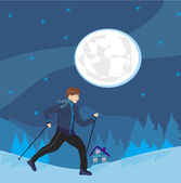 Nordic walking Man exercising at night — Stock Vector
