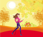 Nordic walking - active woman exercising outdoor — Vector de stock