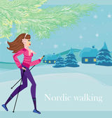 Nordic walking - active woman exercising in winter — Vector de stock