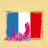 Couple in love in Paris - vintage card , flag in the background — Stock Vector