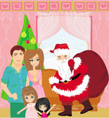 Family Christmas at home — Stock Vector