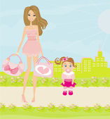 Mother and daughter walking in the park — Stock Vector