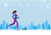 Slim girl running in winter — Vector de stock