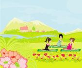 Childbirth education classes outdoors — 图库矢量图片