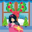 Stock Vector: Girl opening a Christmas present box with a wonderful surprise