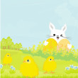 Stock Vector: Greeting Card with Easter bunny and sweet chicks