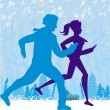 Couple jogging in winter — Stock Vector