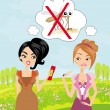 Girl trying to kill a mosquito — Imagen vectorial