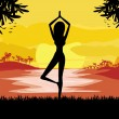 Girl in Yoga pose on Summer background with palm tree — Stock Vector